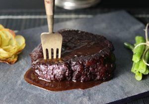 Seitan steaks in red wine glaze