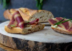 Smoked ham on a sandwich