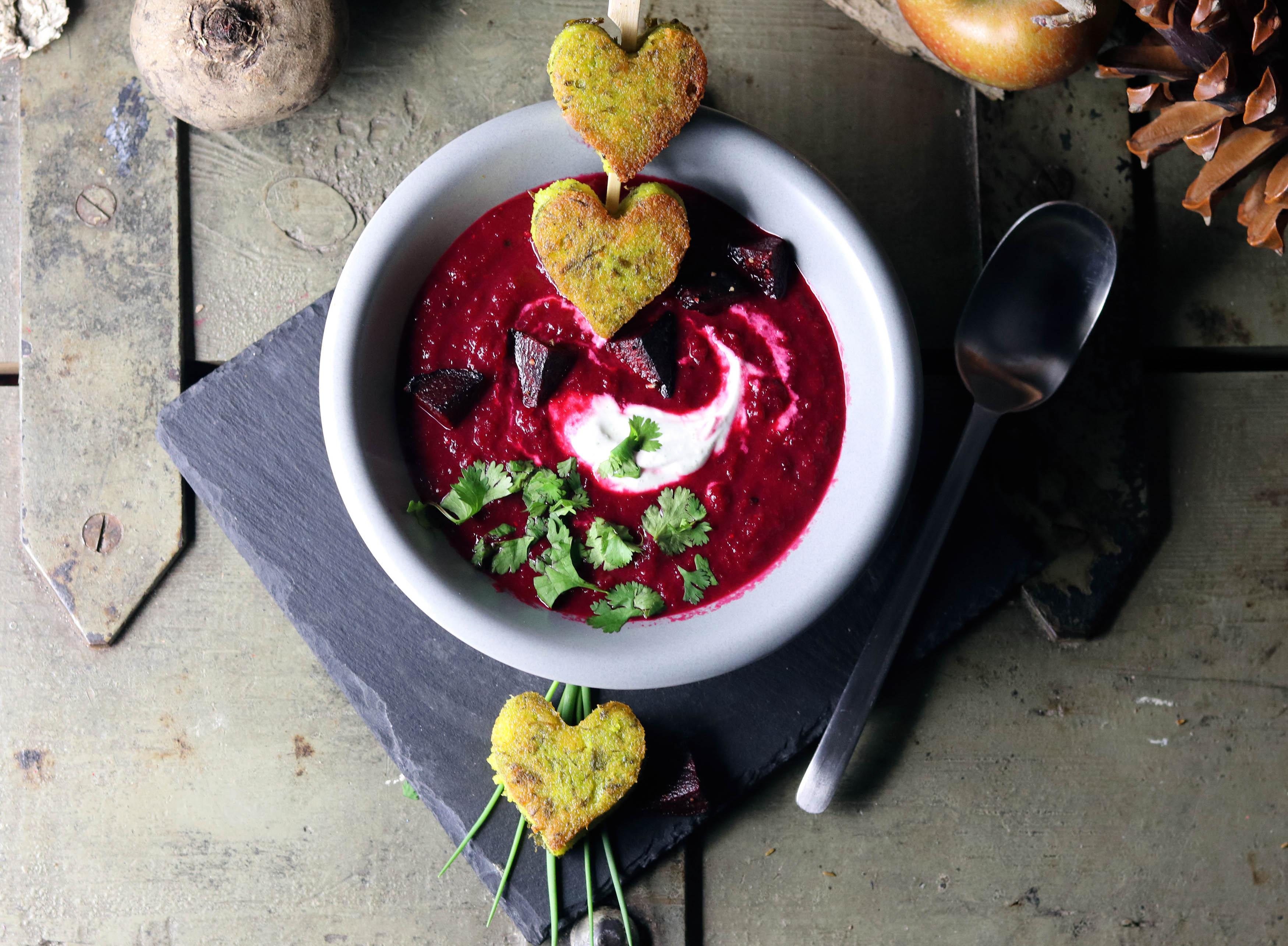 Beetroot apple soupand green polenta hearts