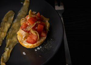Vegan anchovies on bruschetta
