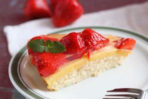 With a creamy custard layer on fluffy sponge cake