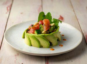 A fish course in a vegan fine dining menu