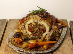 Stuffed vegan goose roast, stuffed vegan turkey roast