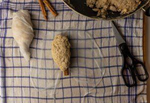 Forming the vegan goose legs or vegan turkey legs
